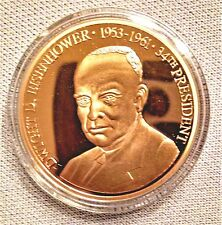 Dwight Eisenhower Commemorative Coin Cu, Layered in 24K Gold Am Mint Cert 06280
