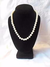 "Vintage Faux Pearl Glass Necklace 18"" Long 6mm"