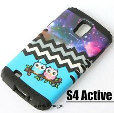 Samsung Galaxy S4 Active i9252 - HARD&SOFT HYBRID CASE BLUE CHEVRON COSMIC OWLS