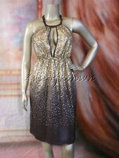 $2995 New with Tags STELLA MCCARTNEY Brown Gold Metal Sequin Halter Dress 10 44