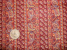 """Vintage Cotton Fabric BLUE & GOLD PAISLEY STRIPE ON BRICK RED 34""""/41"""" Wide"""