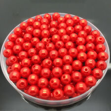 New 6mm 100Pcs Red Acrylic Round Pearl Spacer Loose Beads Jewelry Making #UK