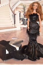 JOE TAI BRAND NEW . BLACK SATIN AND SILK CHIFFON EEVENING GOWN FOR 17 INCH