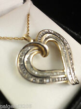 """18K Gold Over Sterling Silver 1/2 CTTW Diamond Heart Pendant with 18"""" Chain"""