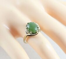10k Yellow Gold Green Jade Ring Size 4 3/4