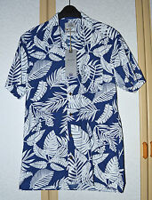 BNWT M&S Mens Blue and White Pure Cotton Tailored Fit Hawaiian Shirt Size S