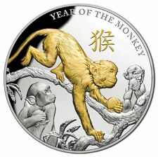 2016 $8 Year of the Monkey Gold Plated 5oz Silver Proof Coin CERTIFICATE No: 250