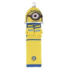 MINIONS set 3 pezzi cappello+sciarpa+guanti in lana giallo azzurro da bambino/a