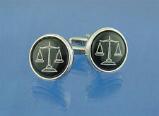 White & Black Round Scales Of Justice Cufflinks With Gift Pouch Deluxe Judge