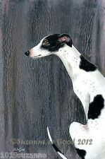 LARGE BLACK AND WHITE GREYHOUND DOG PAINTING FOREST PRINT BY SUZANNE LE GOOD