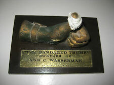 """DISNEY-EMPLOYEE ONLY SCULPTURE-""""THE BANDAGED THUMB""""-AWARDED TO ANN C.WASSERMAN"""
