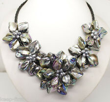 """new black of pearl shell flower necklace 18""""long"""