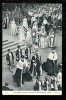 Royalty QUEEN ELIZABETH Coronation Passing through Westminster Abbey PPC