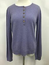 Ralph Lauren LRL Womens Cardigan 100% Cashmere Purple Sweater Long Sleeve Sz L