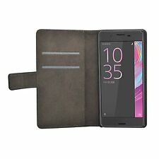 Wallet Black Leather Case Cover Pouch Saver For Sony Xperia X Performance