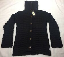 NEW 55 DSL Diesel Alpaca Cardigan Chunky Turtle Neck Sweater Black $260 Womens S