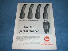 "1963 AC Fire-Ring Spark Plugs Vintage Ad ""Best Way to Fill These Boots"""