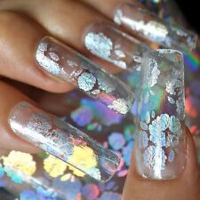 Super Holographic Silver Nail Art Glue Transfer Foil Laser Flower Clear 654