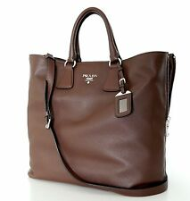 PRADA Vitelo Phenix Leather Tote Shoulder Bag Shopper Large Bruciato BN2419 New