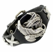 A36b Herren Leder Armband Schmuck Biker Chopper Bracelet Men Eagle LIVE TO RIDE