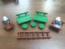 1970s/80s 2 Smurfs (School Desk and Gardener) + tables, benches, stools & ladder