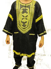 PAKISTAN AFRICAN CLOTHING 2PCS MEN DASHIKI CHURCH WEDDING SUIT ~ BLACK/GOLD