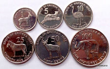 Eritrea Set of 6 coins , 1, 5,10,25, 50 ,100 Cents, 1997, UNC COIN, Animals
