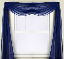 """1PC ROYAL BLUE SCARF VALANCE TOPPER CASCADING VOILE SHEER FABRIC 35-37""""X216"""""""