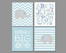 4 Wall Art Nursery Prints Baby Boy Elephants Chevron Alphabet Dream Big Stripes