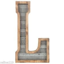 LARGE Wood & Galvanized Metal Letter - L Marquee sign Wall Decor Garage Office