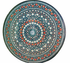 3'x3' Marble Top Dining Table Semi Precious Inlay Marquetry Kitchen Items Decor