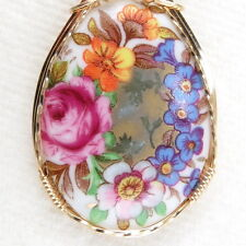 Flowers Pink Rose Porcelain Cameo Pendant 14K Rolled Gold Jewelry