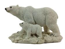 Polar Bear with Cub Poly-Resin Statue Figurine Home Decor