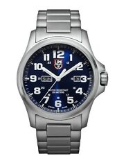 NEW LUMINOX FIELD WATCH 45MM STAINLESS STEEL DAY-DATE BLUE DIAL BRACELET 1924.M