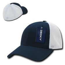 Navy White Flex Low Crown Cotton Mesh 6 Panel Baseball Golf Fit Fitted Hat Cap