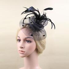 Women Fascinator Party Veil Feather Hair Clip Hat Mesh Net Handcraft Charming