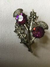 Vintage Miracle Brooch - Celtic, Scottish Thistle, Purple Amethyst Glass,signed
