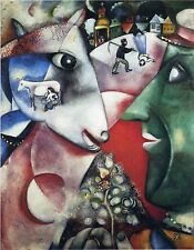 "I And The Village by Marc Chagall, 8"" x 10.25"", Giclee Canvas Print"