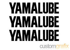 3 x YAMALUBE Motorbike Tank Belly Pan Swing Arm Sticker Decals, Any Colour
