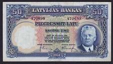 Latvia Latvija 50 Latu 1934, Series: 470698, Pick: 20a, XF