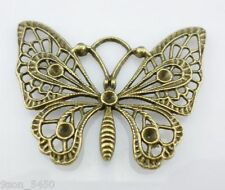 4pcs Retro Bronze Hollow Butterfly Charms Pendants For Jewelry Making 47x36mm