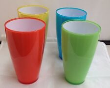 4 Acrylic Coloured Plastic Tumbler Water Drinking Glasses Drink Glass High Set