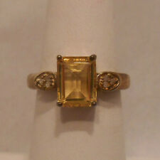 Vintage Antique Estate~Citrine & Diamond Accents 925 Sterling Silver Ring Size 7