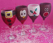 4 CHRISTMAS GLITTER WINE GLASSES PRESENT BIRTHDAY CHRISTMAS DECORATIONS