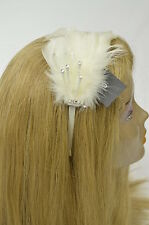 Bebe headband  white feathers sparkle