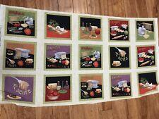 Al Dente Italian Pasta set of Hot Pad Squares Cotton Fabric Panel sew - quilt