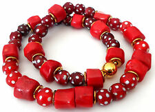 Antik Venetian Murano eye trade beads + Korallen Kette