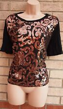 PRIMARK BLACK BRONZE SEQUIN BEADED PARTY CAMI BLOUSE TOP T SHIRT TUNIC 14 L