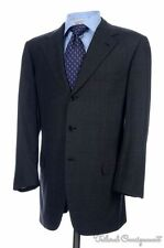 BRIONI Nomentano Solid Gray Plaid Wool Dual Vent Jacket Pants SUIT Mens - 40 R