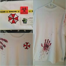 """Zombie Survival """"Hand Printed"""" Tee Resident Evil Umbrella Cosplay Tricell"""